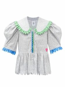 Cecilie Bahnsen - Annabella Floral-beaded Silk-organza Dress - Womens - Blue Multi