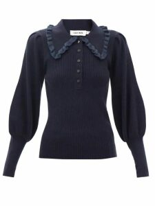 See By Chloé - Tulle Lace-trimmed Cotton-poplin Blouse - Womens - Ivory