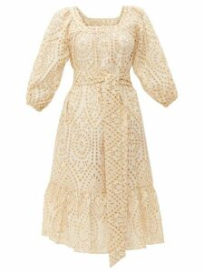 Lisa Marie Fernandez - Laure Broderie-anglaise Cotton Dress - Womens - Ivory