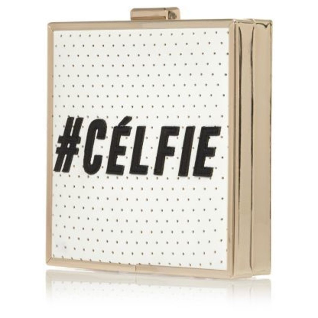 White #Celfie box clutch bag