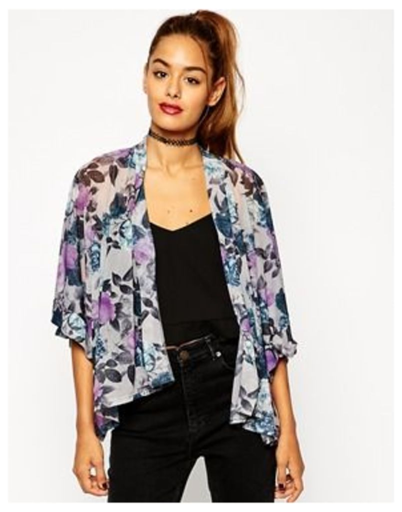 ASOS Kimono in Romantic Purple Floral Print - Multi