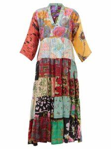 Rianna + Nina - Vintage Patchwork Print V Neck Silk Dress - Womens - Multi