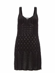 Paco Rabanne - Long-sleeved Ribbed Cotton-blend Top - Womens - Black