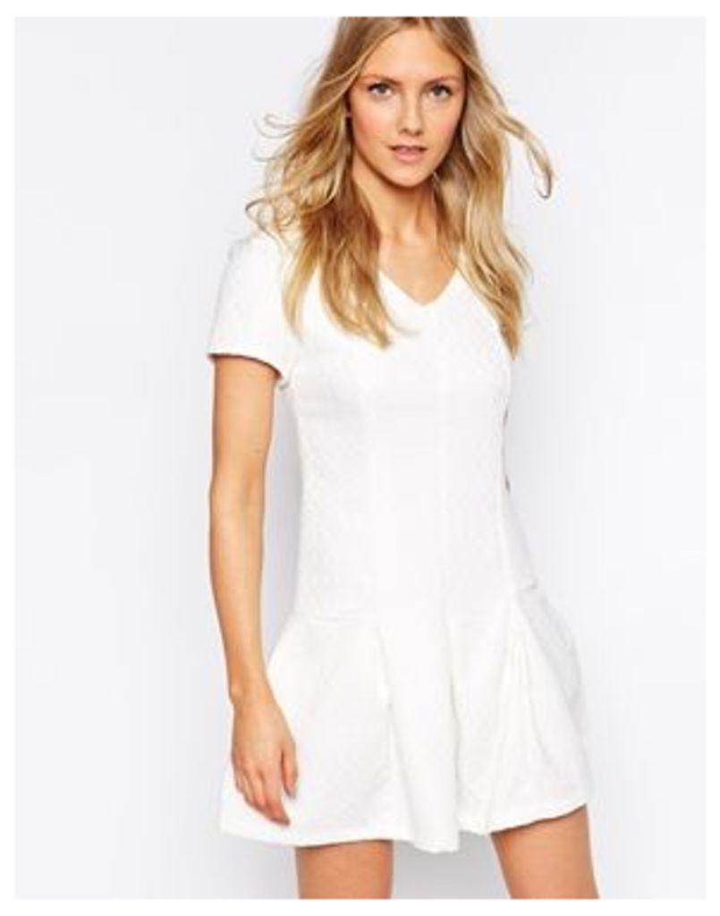 Glamorous Peplum Hem Dress in Diamond Brocade - White