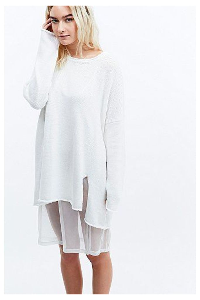 UNIF Zoe Long Sleeve Knit Dress in Ivory, Cream