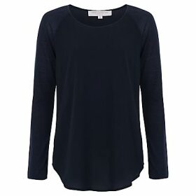 French Connection Polly Plains Long Sleeve Top, Utility Blue