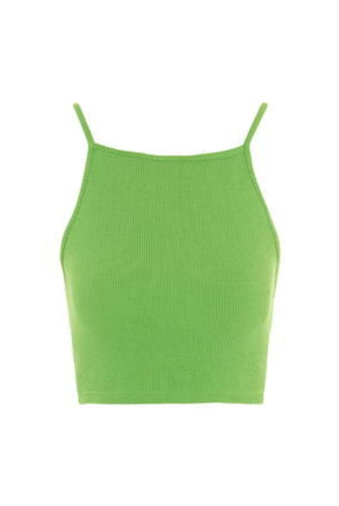 Womens TALL Square Neck Crop Top - Fluro Yellow, Fluro Yellow