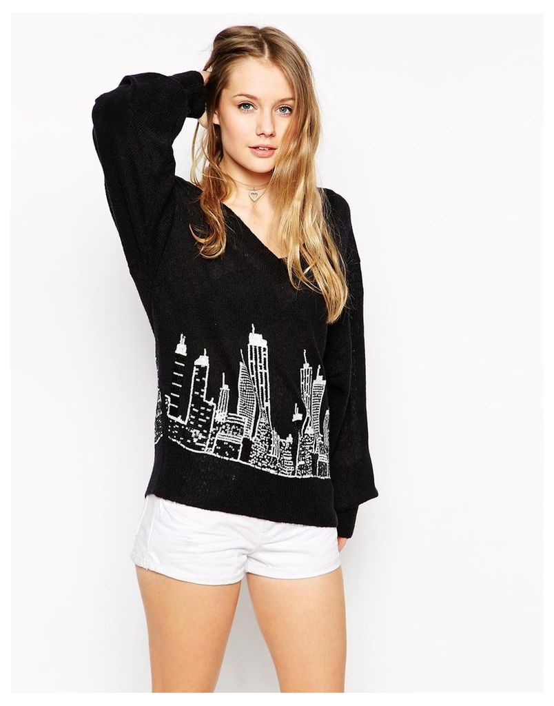 Wildfox White Label It Could Happen Long Sleeve Jumper - Clean black