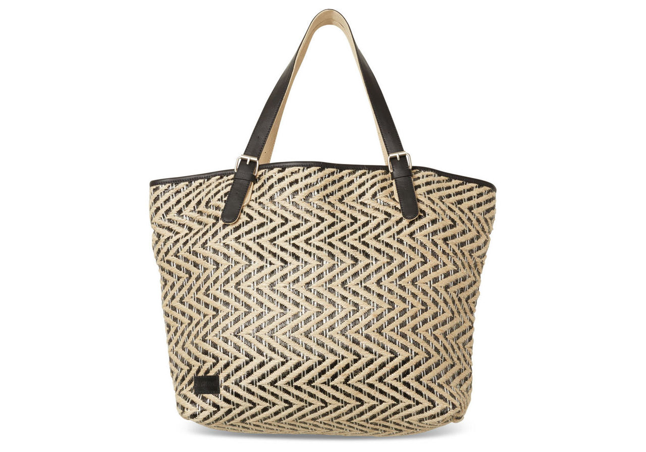 Black Multi Chevron Straw Islander Tote