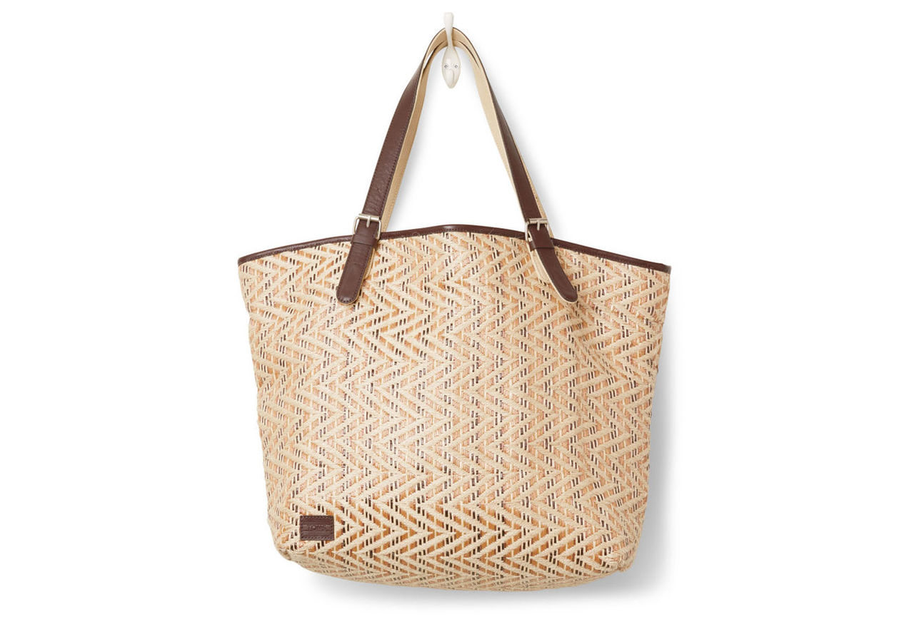 Natural Chevron Straw Islander Tote Bag