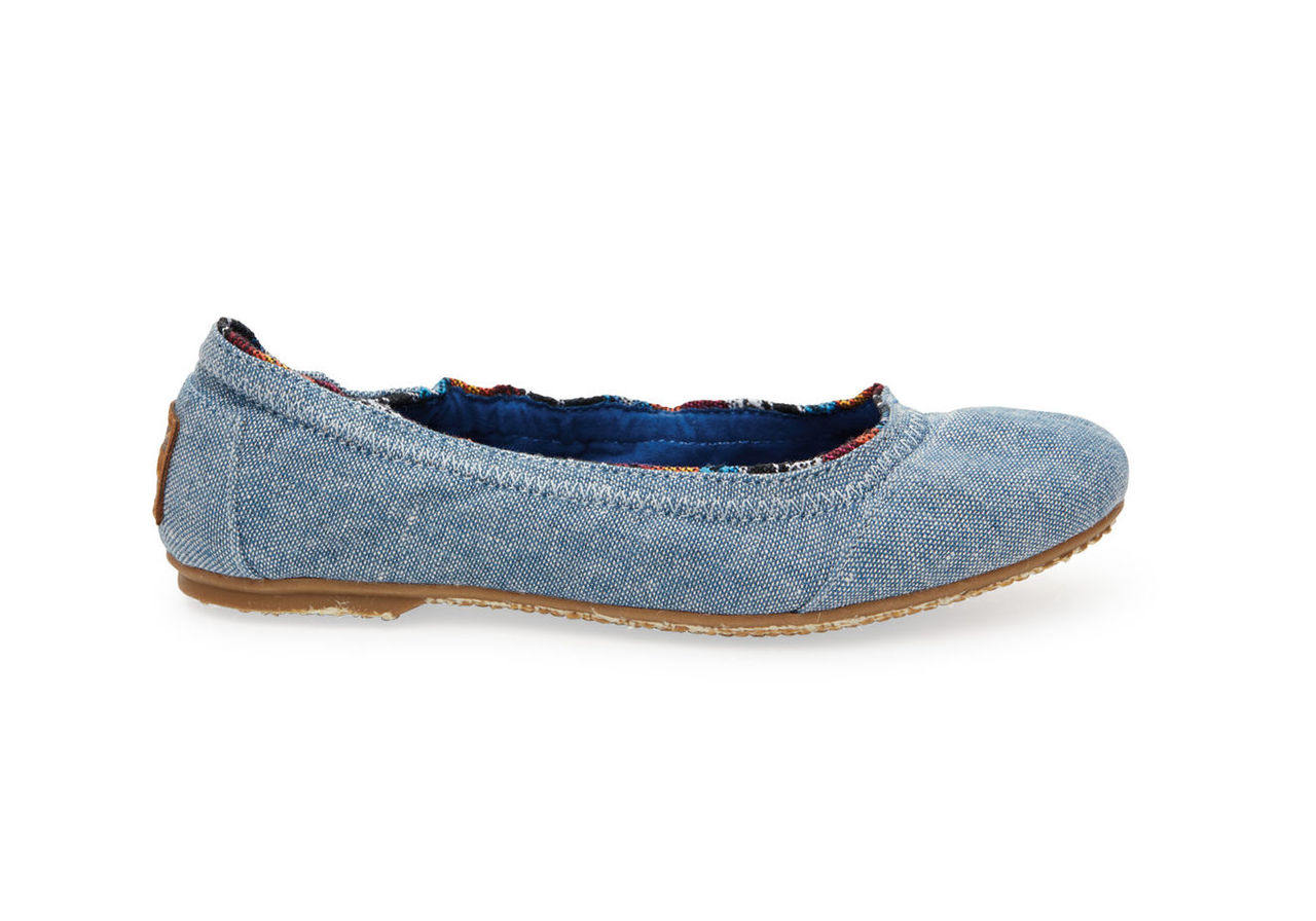Light Navy Chambray Youth Ballet Flats