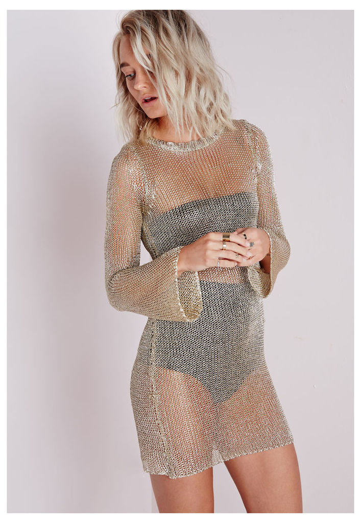 Metallic Bell Sleeve Knitted Dress Gold, Gold