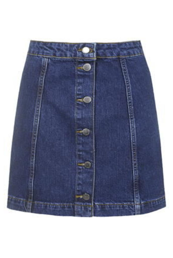 Womens TALL Denim Button Front Skirt - Mid Stone, Mid Stone