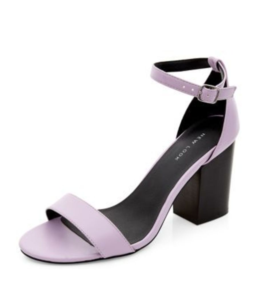 Lilac Ankle Strap Block Heels
