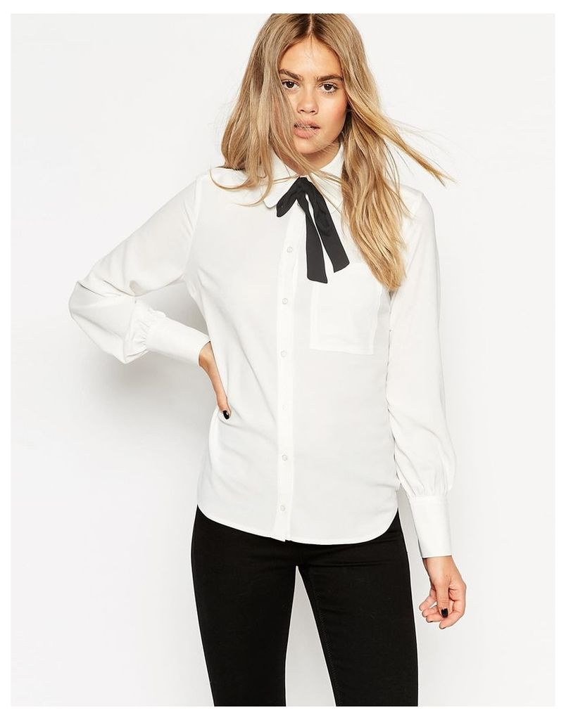 ASOS Contrast Bow 70s Blouse - White