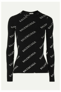 Balenciaga - Printed Ribbed-knit Top - Black