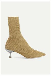 Miu Miu - Crystal-embellished Metallic Ribbed-knit Sock Boots - Gold
