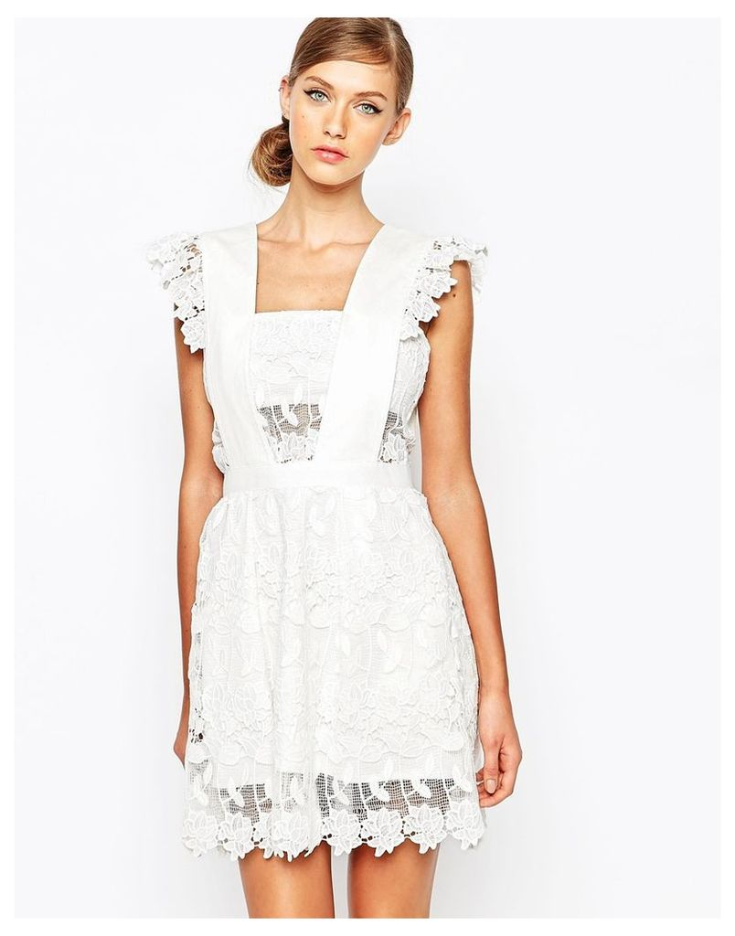 Self Portrait Frilled A-Line Skater Dress - White