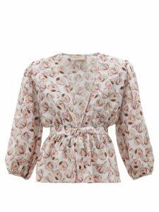 Adriana Degreas - Aglio-print Tie-front Silk-charmeuse Blouse - Womens - White Print