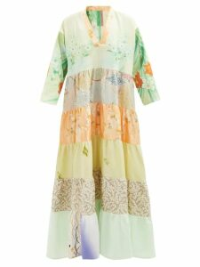 Prada - Floral-appliqué Flatform Leather Sandals - Womens - Burgundy