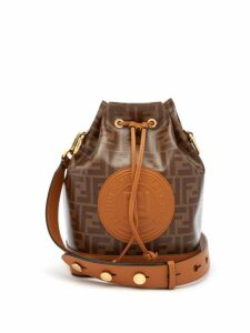 Fendi - Mon Tresor Ff-jacquard Leather Bucket Bag - Womens - Tan Multi
