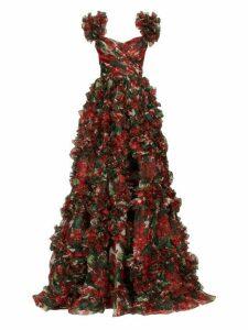 Dolce & Gabbana - Ruffled Geranium Print Silk Organza Gown - Womens - Red Multi