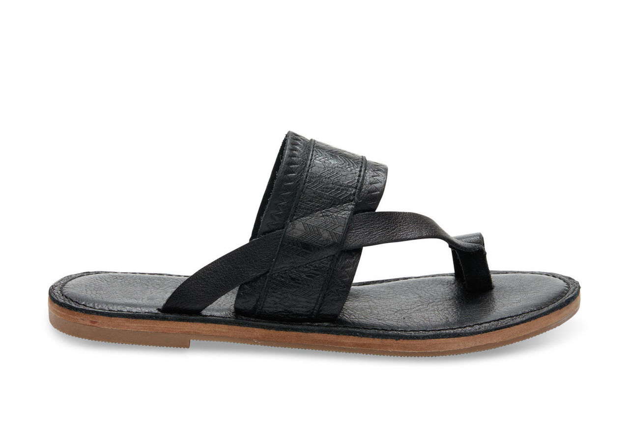 Black Leather Emboss Women's Isabela Sandals