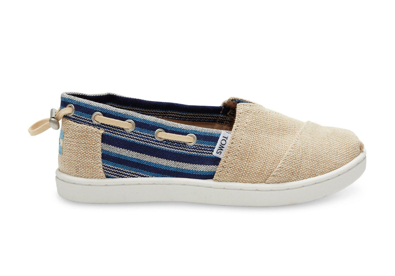 Burlap Indigo Stripe On Canvas Youth Biminis