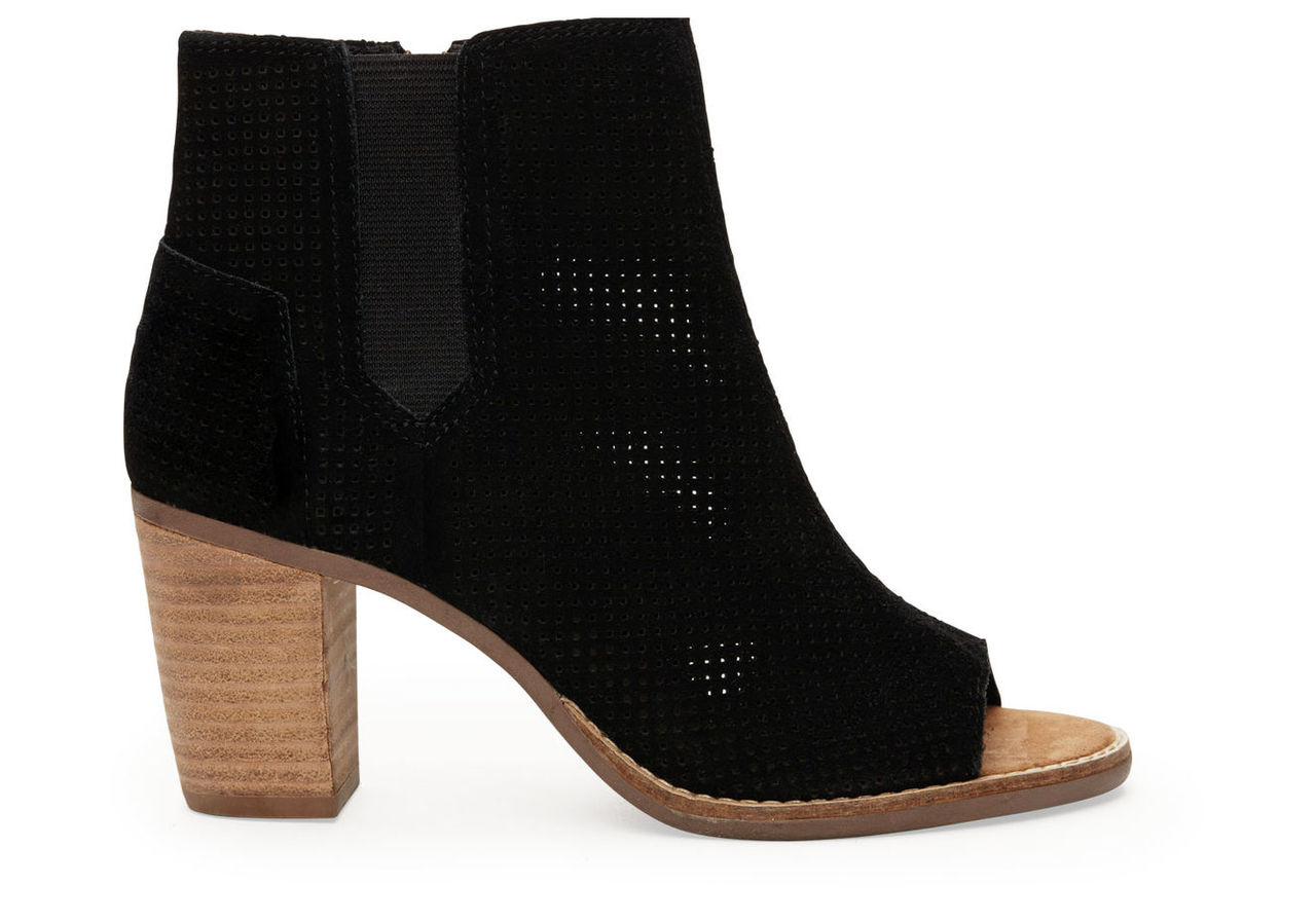 Black Suede Perforated Women's Majorca Peep Toe Booties