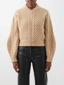 Burberry - Logo-knit Round-neck Cashmere T-shirt - Womens - Grey