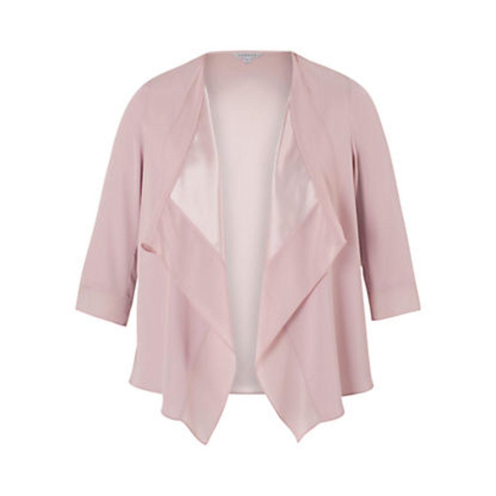 Chesca Satin Back Crepe Waterfall Jacket, Powder Pink
