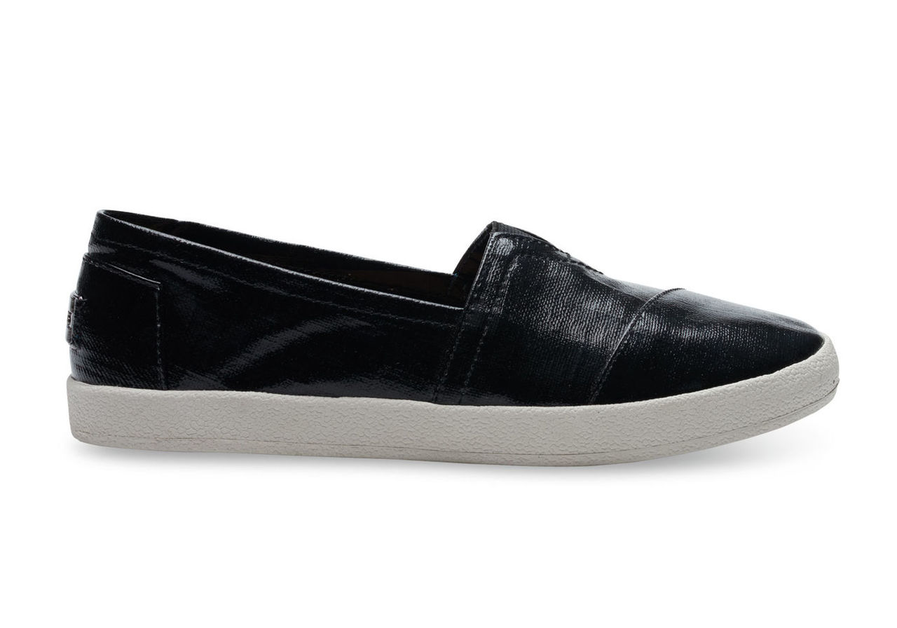 Black Patent Linen Women's Avalon Slip-Ons