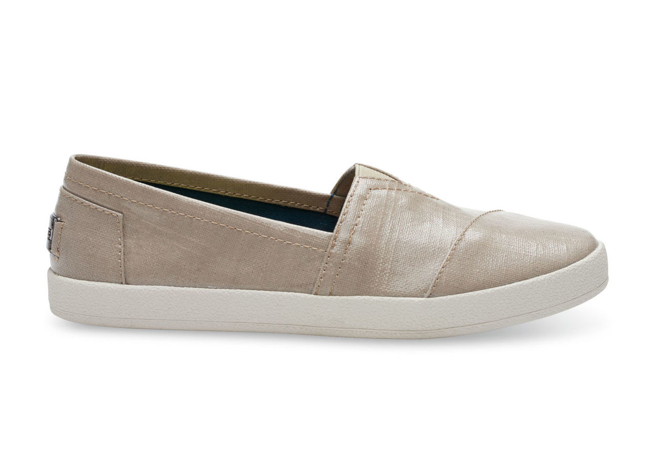 Oxford Tan Patent Linen Women's Avalon Slip-Ons