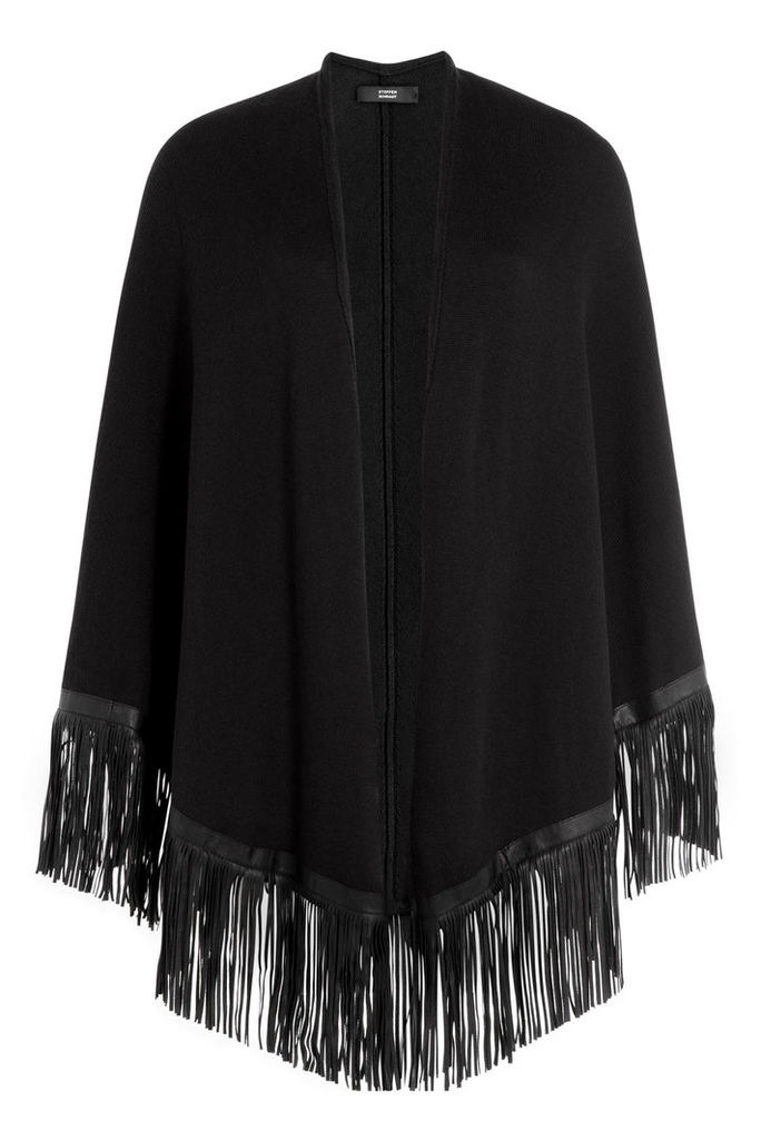Steffen Schraut Weekend Cotton Cape with Leather Fringe - black