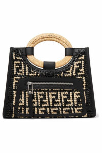 Fendi - Runaway Small Leather-trimmed Woven Raffia Tote - Black
