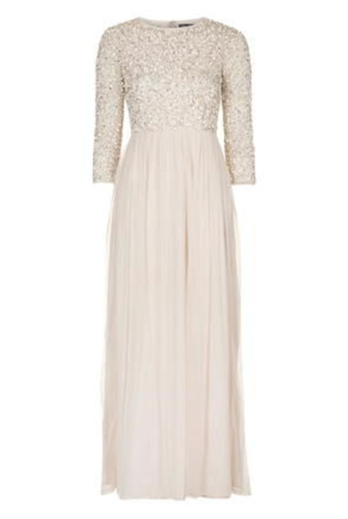 Womens **Embellished Maxi Dress by TFNC - Cream, Cream