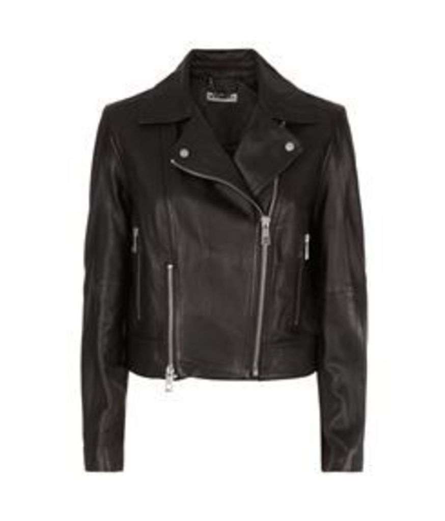 Cara Cropped Leather Biker Jacket Black