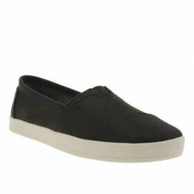 Toms Black Avalon Canvas Flat Shoes