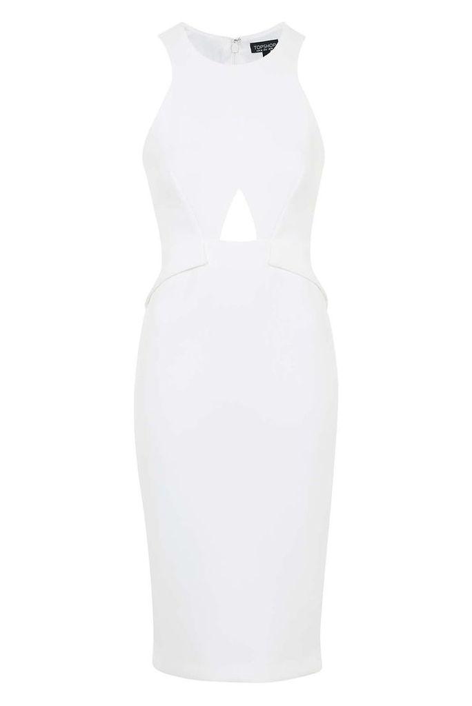 Womens Keyhole Cut-Out Midi Dress - White, White