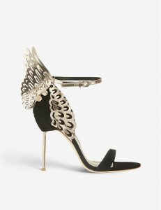 Evangeline winged suede heeled sandals