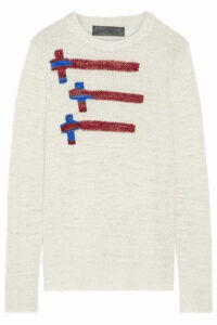 The Elder Statesman - Flying Crosses Intarsia Cashmere Sweater - Off-white