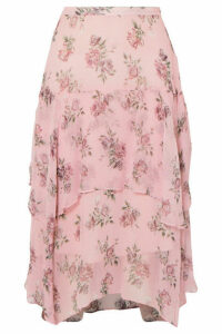 LoveShackFancy - Alex Floral-print Crinkled Silk-chiffon Midi Skirt - Baby pink