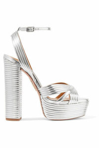 Aquazzura - Sundance 150 Metallic Faux Leather Platform Sandals - Silver