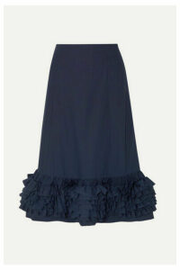 Molly Goddard - Nora Ruffled Cotton-poplin Midi Skirt - Navy
