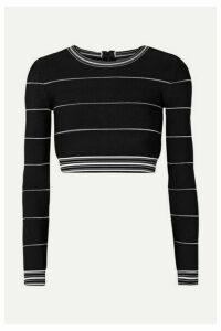 Hervé Léger - Cropped Striped Bandage Top - Black