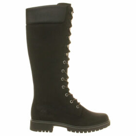 Timberland 14 inch premium nubuck leather boots, Women's, Size: 04/01/1900, Black nubuck