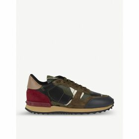Camouflage-print leather trainers