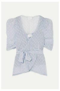 alice McCALL - Moon Talking Fil Coupé Wrap Blouse - Sky blue