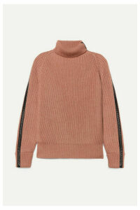 Bottega Veneta - Intrecciato Leather-trimmed Cotton-blend Turtleneck Sweater - Blush