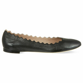 Chloe Scallop leather ballet flats, Women's, Size: EUR 38.5 / 5.5 UK, Black